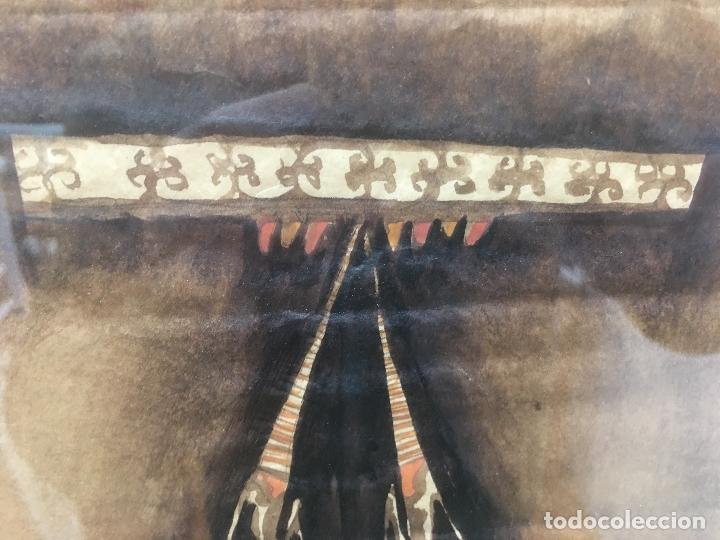 Arte: PINTURAS DE DIOSAS BEREBERES, CON JENA Y PINTURAS NATURALES SOBRE PAPEL DE SACO DE CEMENTO - Foto 7 - 140327522