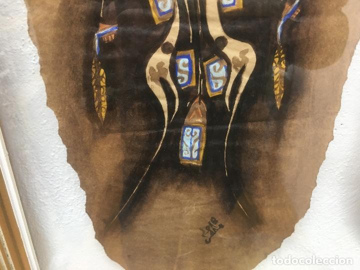 Arte: PINTURAS DE DIOSAS BEREBERES, CON JENA Y PINTURAS NATURALES SOBRE PAPEL DE SACO DE CEMENTO - Foto 10 - 140327522