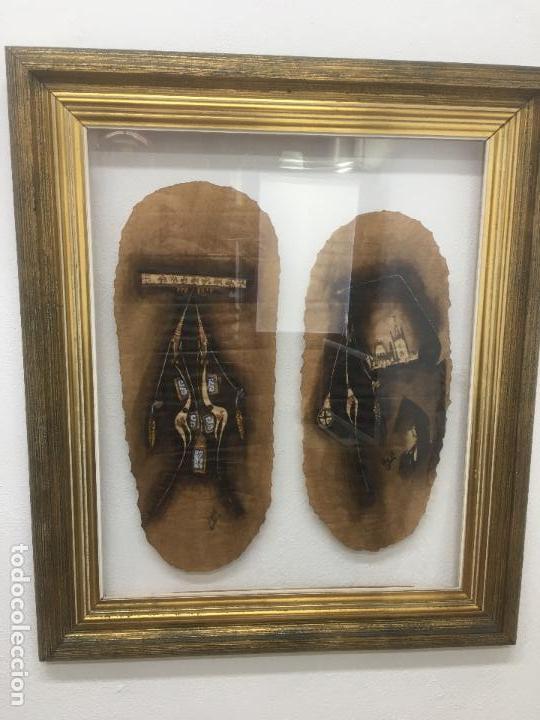 Arte: PINTURAS DE DIOSAS BEREBERES, CON JENA Y PINTURAS NATURALES SOBRE PAPEL DE SACO DE CEMENTO - Foto 11 - 140327522