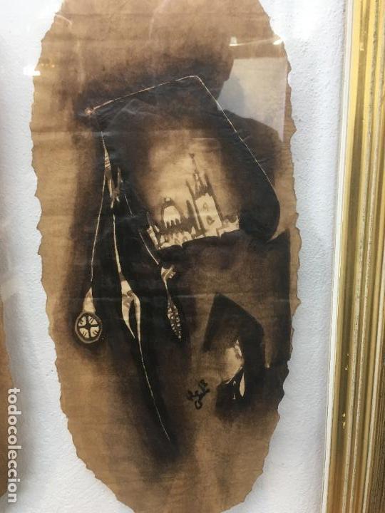 Arte: PINTURAS DE DIOSAS BEREBERES, CON JENA Y PINTURAS NATURALES SOBRE PAPEL DE SACO DE CEMENTO - Foto 12 - 140327522