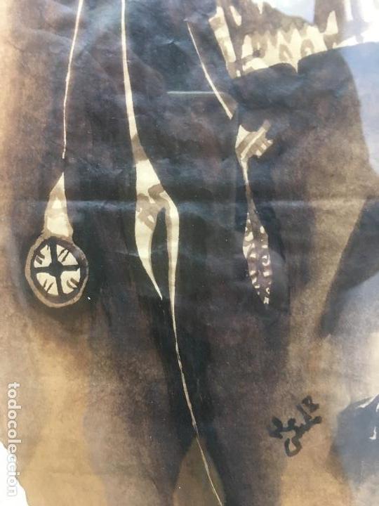 Arte: PINTURAS DE DIOSAS BEREBERES, CON JENA Y PINTURAS NATURALES SOBRE PAPEL DE SACO DE CEMENTO - Foto 13 - 140327522