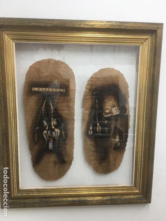 Arte: PINTURAS DE DIOSAS BEREBERES, CON JENA Y PINTURAS NATURALES SOBRE PAPEL DE SACO DE CEMENTO - Foto 16 - 140327522
