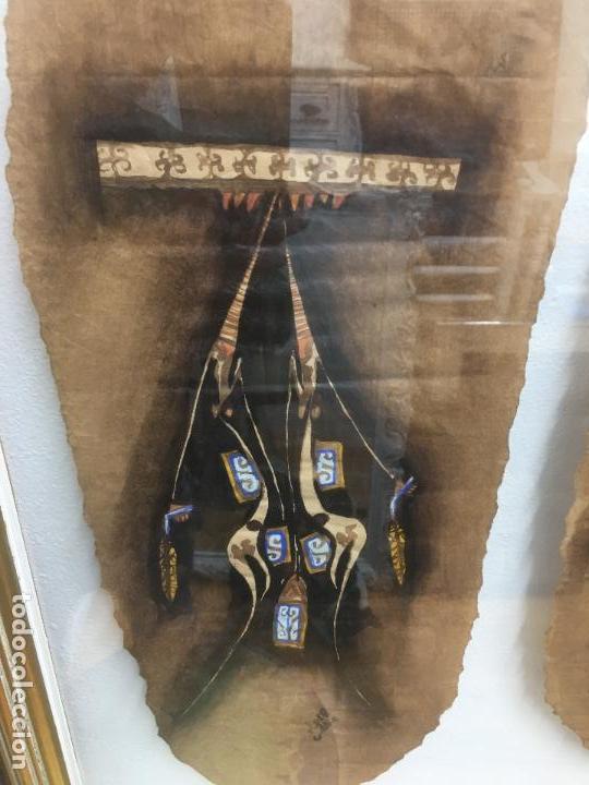 Arte: PINTURAS DE DIOSAS BEREBERES, CON JENA Y PINTURAS NATURALES SOBRE PAPEL DE SACO DE CEMENTO - Foto 19 - 140327522