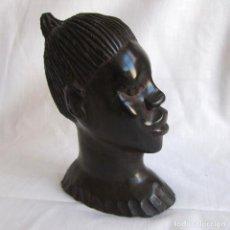 Arte: BUSTO DE ABORIGEN AFRICANO EN MADERA NOBLE MUY PESADA. Lote 142246502
