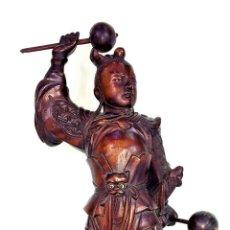 Arte: DIOS CHINO. LEI-GONG(?). MADERA TALLADA. INCRUSTACIONES DE CRISTAL. CHINA. XIX-XX. Lote 142507626