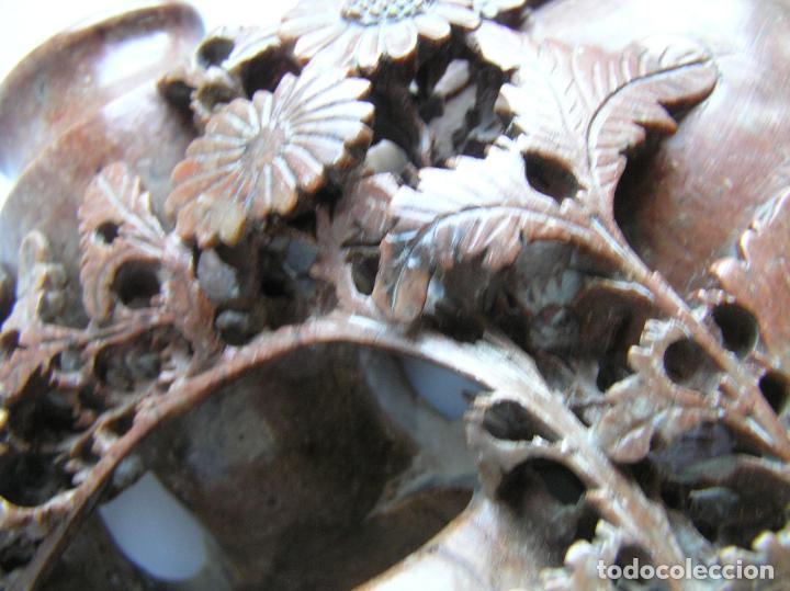 Arte: TALLA ORIENTAL EN JADEÍTA. LIMPIA PINCELES. China. 20 X 16 CM.. Primera mitad siglo XX. - Foto 8 - 142853738