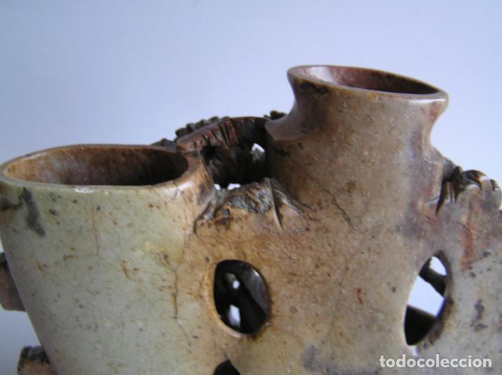 Arte: TALLA ORIENTAL EN JADEÍTA. LIMPIA PINCELES. China. 20 X 16 CM.. Primera mitad siglo XX. - Foto 18 - 142853738