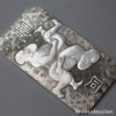 Arte: LINGOTE / PLACA DE PLATA TIBETANA - GEMELOS BOLLAMULET - AMULETO. Lote 143041170