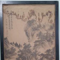 Arte: ANTIGUA PINTURA CHINA SOBRE SEDA, GRAN CALIDAD, TAMAÑO 138X73CM, CON INSCRIPCIONES.. Lote 143446156