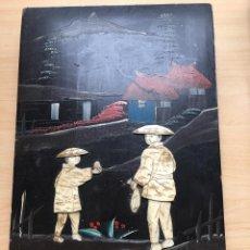 Arte: PAREJA DE TABLAS CHINAS LACADAS DE MARFIL O HUESO. Lote 143620626