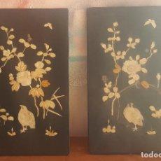 Arte: PAREJA TABLAS ORIENTALES LACADAS CON INCRUSTACIONES HUESO.. Lote 143991278