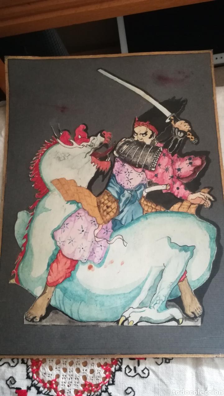 ANTIGUA ACUARELA ORIENTAL (Arte - Étnico - Asia)