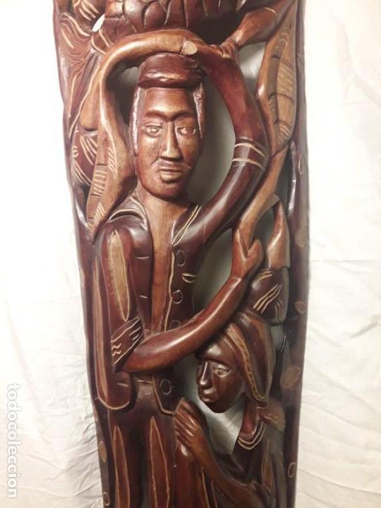 Arte: Magnifica mascara africana antigua gran talla de madera hecha a mano en una solo pieza 135 cm - Foto 4 - 144093114