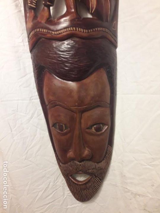 Arte: Magnifica mascara africana antigua gran talla de madera hecha a mano en una solo pieza 135 cm - Foto 8 - 144093114