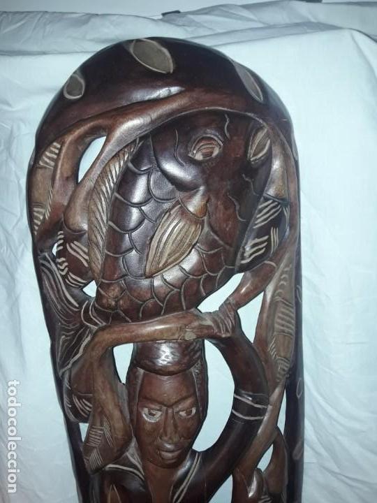 Arte: Espectacular máscara africana antigua gran talla de madera hecha a mano en una solo pieza 135 cm - Foto 9 - 144093114
