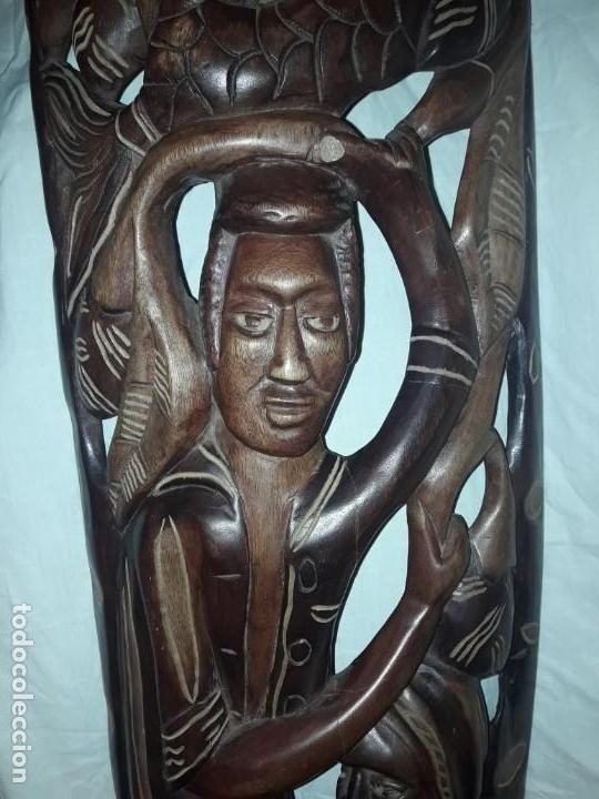 Arte: Magnifica mascara africana antigua gran talla de madera hecha a mano en una solo pieza 135 cm - Foto 10 - 144093114