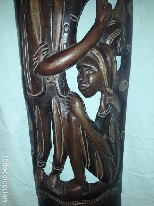Arte: Magnifica mascara africana antigua gran talla de madera hecha a mano en una solo pieza 135 cm - Foto 11 - 144093114
