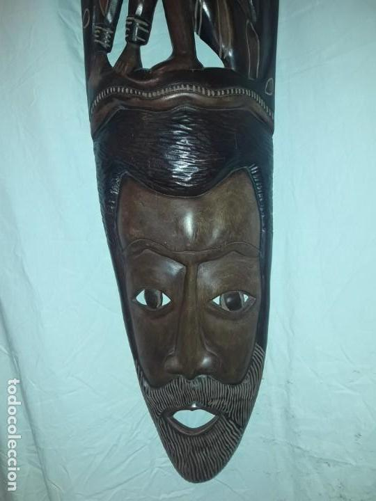 Arte: Magnifica mascara africana antigua gran talla de madera hecha a mano en una solo pieza 135 cm - Foto 12 - 144093114