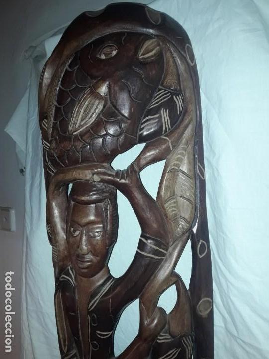 Arte: Magnifica mascara africana antigua gran talla de madera hecha a mano en una solo pieza 135 cm - Foto 13 - 144093114