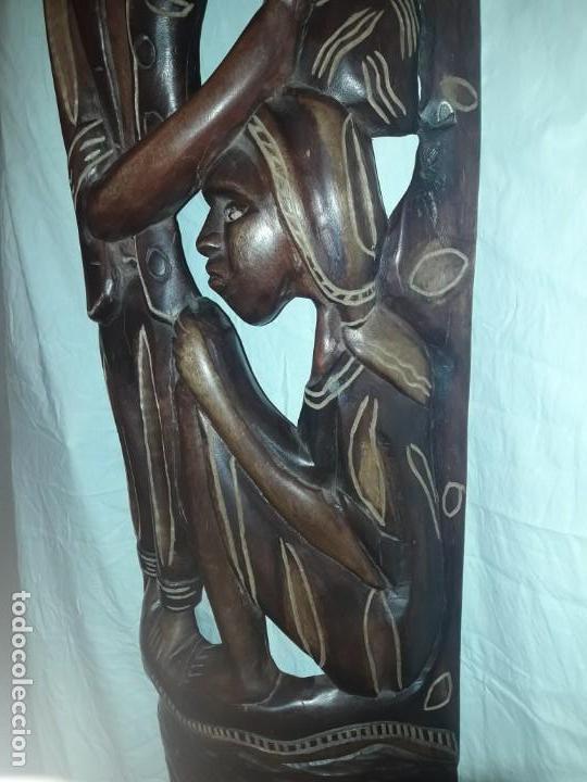 Arte: Espectacular máscara africana antigua gran talla de madera hecha a mano en una solo pieza 135 cm - Foto 14 - 144093114