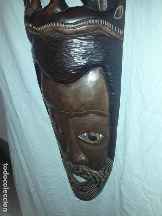 Arte: Espectacular máscara africana antigua gran talla de madera hecha a mano en una solo pieza 135 cm - Foto 15 - 144093114