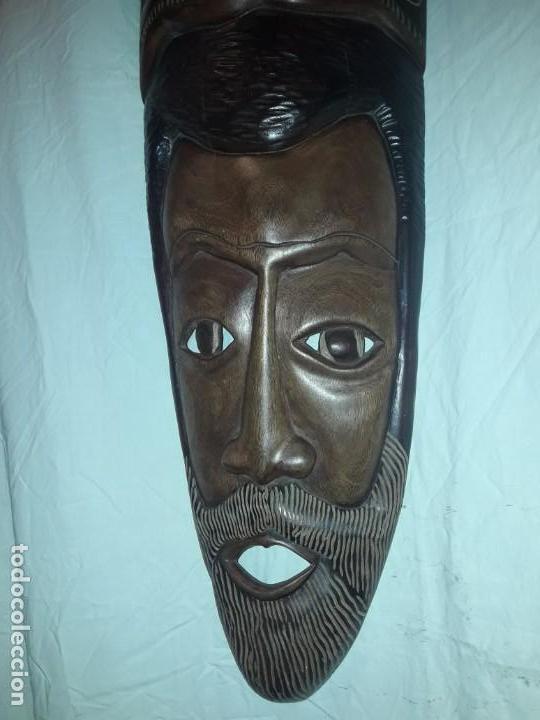 Arte: Magnifica mascara africana antigua gran talla de madera hecha a mano en una solo pieza 135 cm - Foto 16 - 144093114
