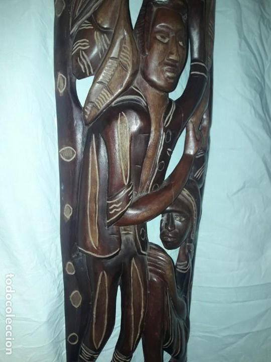 Arte: Magnifica mascara africana antigua gran talla de madera hecha a mano en una solo pieza 135 cm - Foto 17 - 144093114