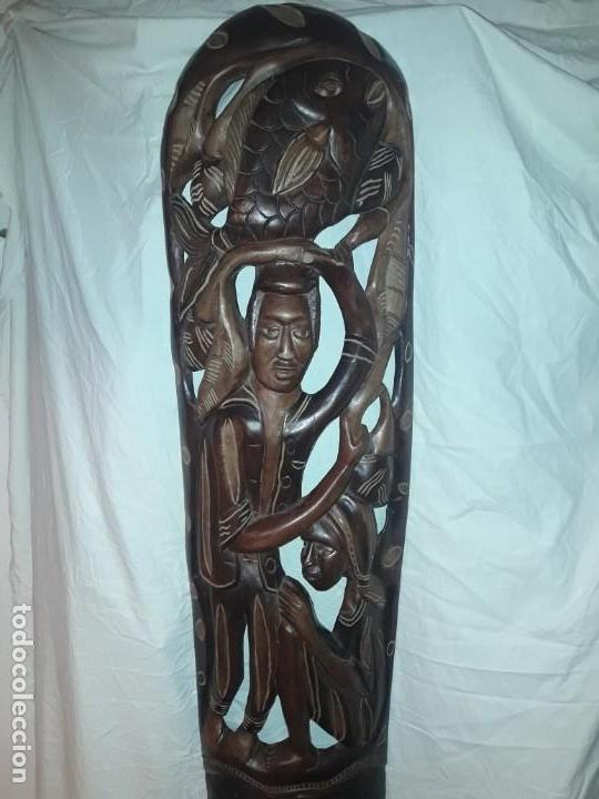 Arte: Magnifica mascara africana antigua gran talla de madera hecha a mano en una solo pieza 135 cm - Foto 19 - 144093114