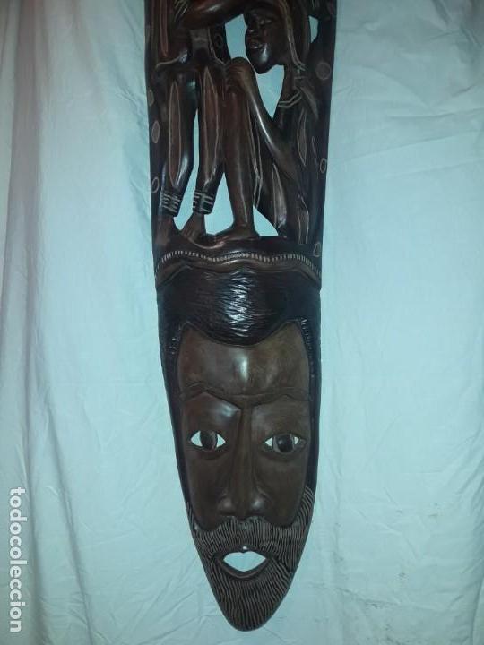 Arte: Magnifica mascara africana antigua gran talla de madera hecha a mano en una solo pieza 135 cm - Foto 20 - 144093114