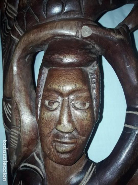 Arte: Magnifica mascara africana antigua gran talla de madera hecha a mano en una solo pieza 135 cm - Foto 22 - 144093114