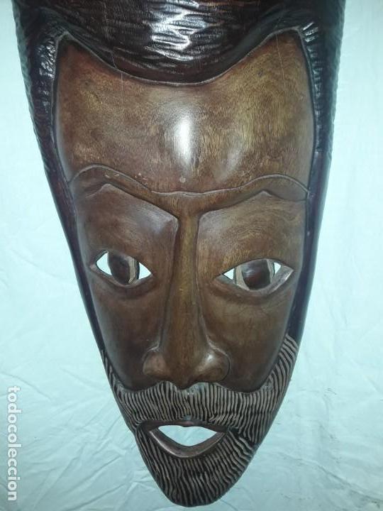 Arte: Espectacular máscara africana antigua gran talla de madera hecha a mano en una solo pieza 135 cm - Foto 25 - 144093114