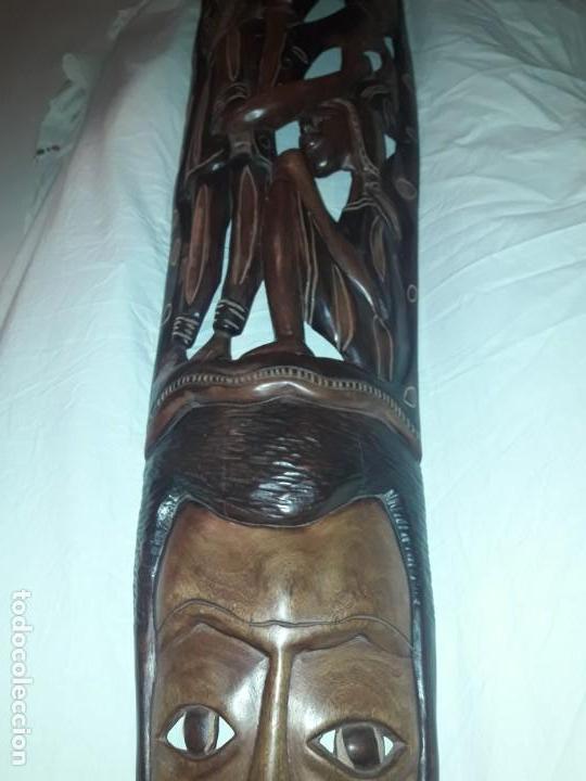 Arte: Magnifica mascara africana antigua gran talla de madera hecha a mano en una solo pieza 135 cm - Foto 29 - 144093114