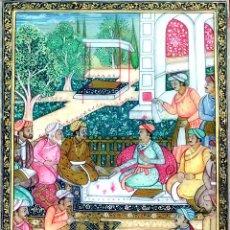 Arte: ESCENA EN JARDIN IMPERIAL. MINIATURA SOBRE ALABASTRO. KANHAIYANAND SHARMA. INDIA. XX(?). Lote 144360346