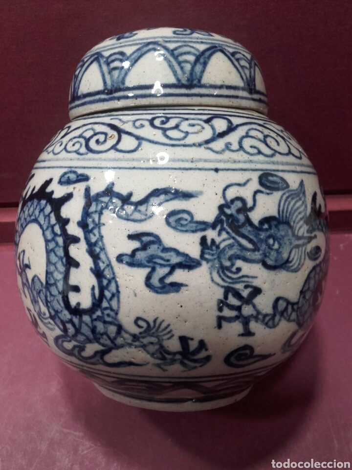 ANTIGUO BUCARO O JARRÓN DE PORCELANA CHINA CON MARCAS. (Arte - Étnico - Asia)