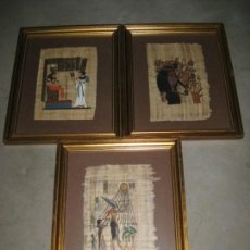 Arte: LOTE DE 3 CUADROS CON PAPIRO EGIPCIO. 48CM.. Lote 144573198