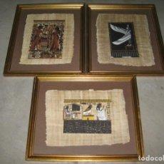 Arte: LOTE DE 3 CUADROS MADERA CON PAPIRO EGIPCIO. 59CM.. Lote 144573818