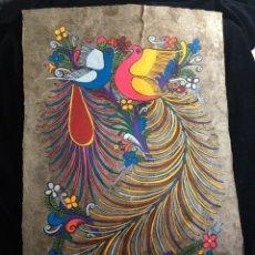 Arte: PINTURA (TEMPLE) MEXICANA SOBRE LÁMINA DE CORCHO - ARTE ÉTNICO MEXICANO - 60 X 40 CM (1). Lote 144822094