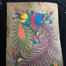 Arte: PINTURA (TEMPLE) MEXICANA SOBRE LÁMINA DE CORCHO - ARTE ÉTNICO MEXICANO - 60 X 40 CM (2). Lote 144822242