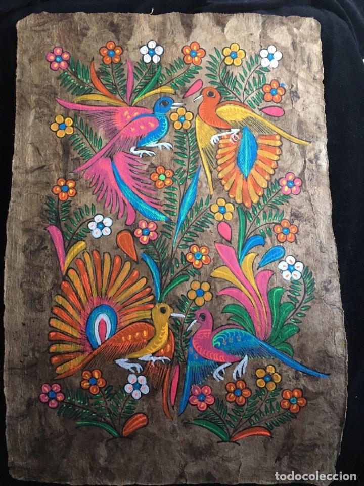 PINTURA (TEMPLE) MEXICANA SOBRE LÁMINA DE CORCHO - ARTE ÉTNICO MEXICANO - 60 X 40 CM (3) (Arte - Étnico - América)