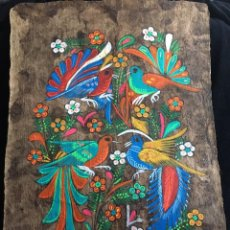 Arte: PINTURA (TEMPLE) MEXICANA SOBRE LÁMINA DE CORCHO - ARTE ÉTNICO MEXICANO - 60 X 40 CM (4). Lote 144822538