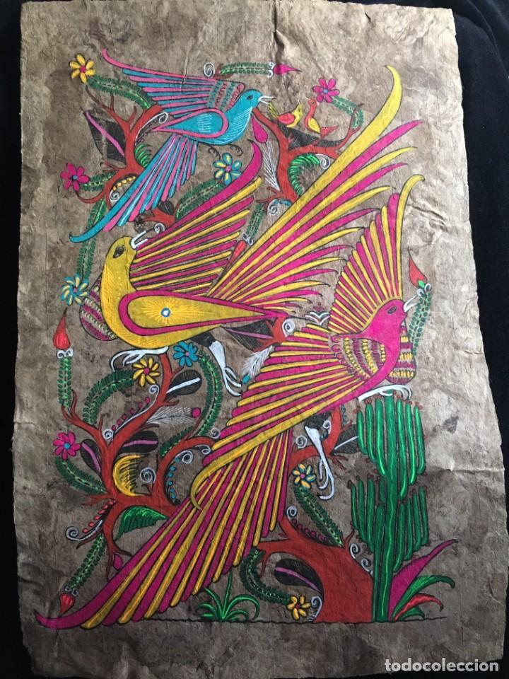 PINTURA (TEMPLE) MEXICANA SOBRE LÁMINA DE CORCHO - ARTE ÉTNICO MEXICANO - 60 X 40 CM (5) (Arte - Étnico - América)