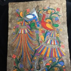 Arte: PINTURA (TEMPLE) MEXICANA SOBRE LÁMINA DE CORCHO - ARTE ÉTNICO MEXICANO - 60 X 40 CM (6). Lote 144822794