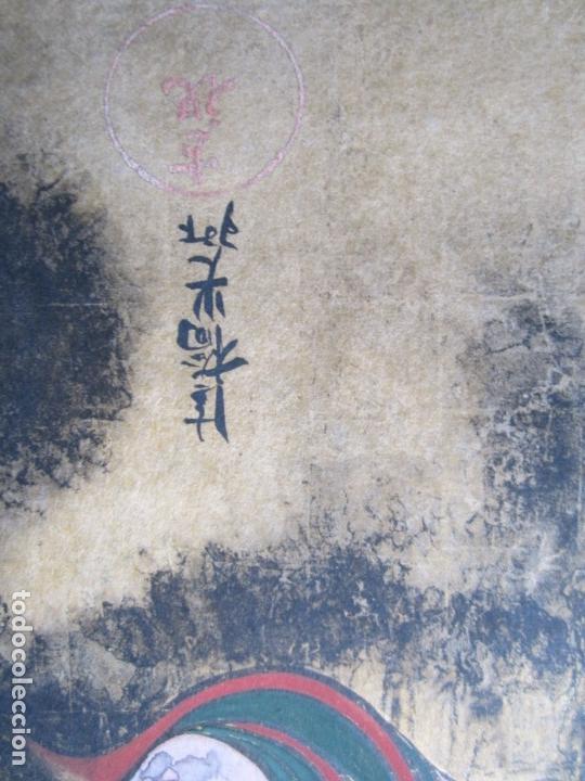 Arte: Pintura japonesa, mitología, artista por identificar. 61x56cm - Foto 3 - 144936126