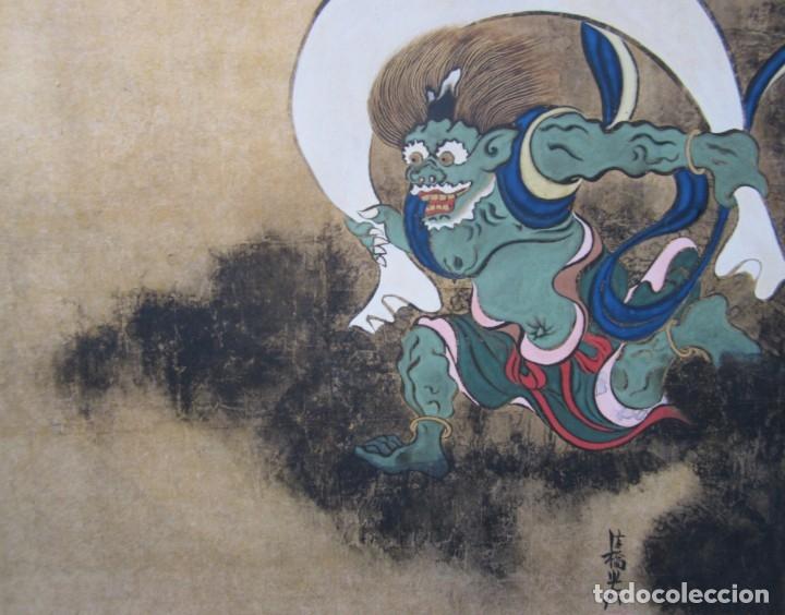 Arte: Pintura japonesa, mitología, artista por identificar. 61x56cm - Foto 2 - 144936126