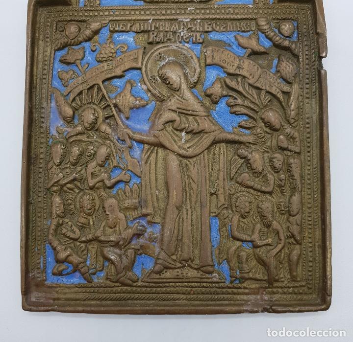 Arte: Capilla o icono ruso ortodoxo antiguo bellamente cincelado en bronce y parcialmente esmaltado . - Foto 6 - 145292682