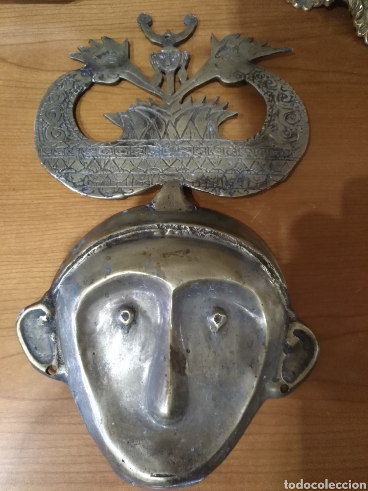 Arte: Mascara etnica bronce. Perfecto estado. - Foto 18 - 145330169