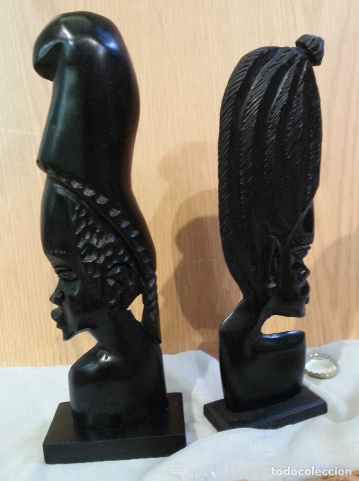 ESCULTURAS ORIGEN AFRICANO EN NOBLE MADERA TROPICAL. PAREJA. AÑOS 80 (Arte - Étnico - África)