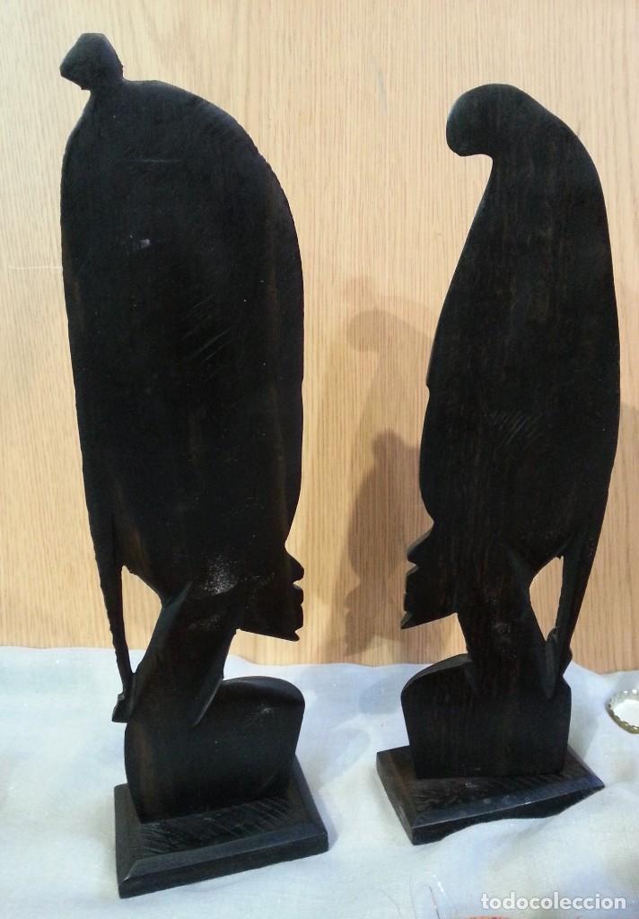 Arte: Esculturas origen africano en noble madera tropical. Pareja. Años 80 - Foto 6 - 145616962