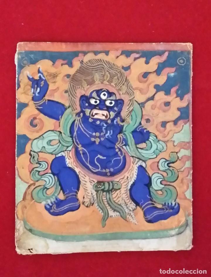 TIBET, DIBUJO A GOUACHE, DEIDAD, SIGLO XIX (Arte - Étnico - Asia)