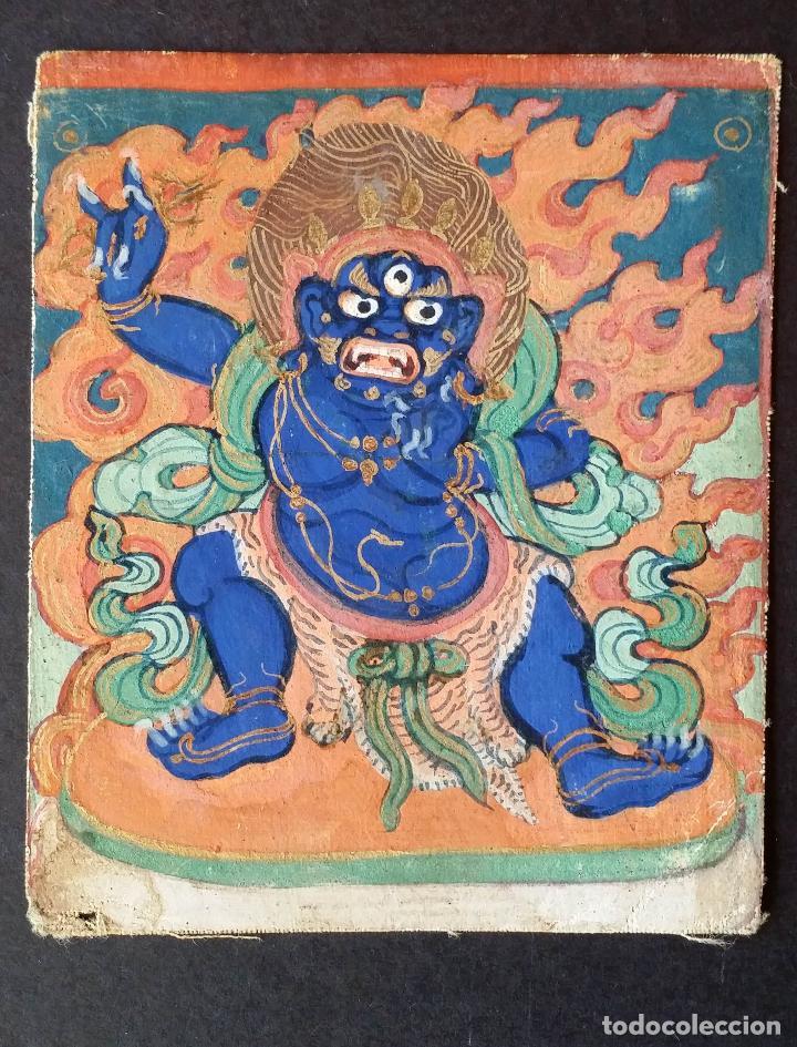 Arte: TIBET, dibujo a gouache, deidad, siglo XIX - Foto 2 - 145972102